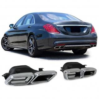 Auspuffblenden Endrohre Eckig Blenden Chrom für Mercedes W222 W212 E63 S65 AMG