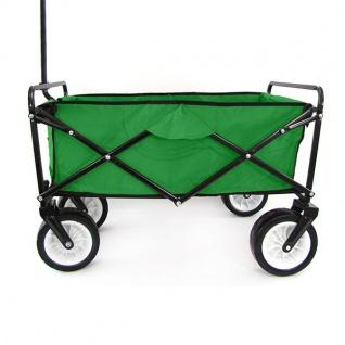Garten Transport Faltwagen Handwagen Bollerwagen klappbar bis 80kg grün - Vorschau 5