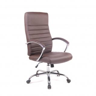 Chefsessel Bürostuhl Drehstuhl mit Armlehnmen Schreibtischstuhl Braun Chrom
