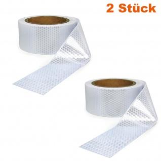 2x Signal Warn Absperr Band PVC selbstklebend reflektierend weiß 5cmx10m