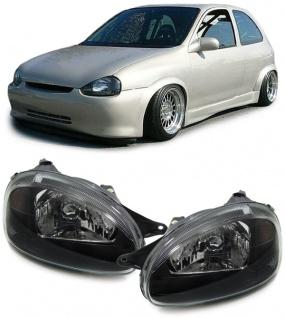 Klarglas Scheinwerfer schwarz - E für Opel Corsa B 93-00