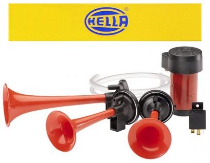 Hella Dreiklang Fanfare Hupe Signal Horn KFZ 12 Volt 118dB ECE 780-860Hz