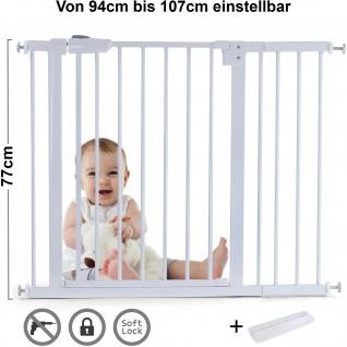 Absperrgitter Treppenschutzgitter Metall weiß + Rampe 94 - 107cm 77cm hoch