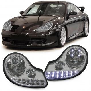 Klarglas Scheinwerfer Chrom mit LED Blinker für Porsche 911 996 Boxster 986