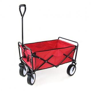 Garten Transport Faltwagen Handwagen Bollerwagen klappbar bis 80kg rot - Vorschau 2