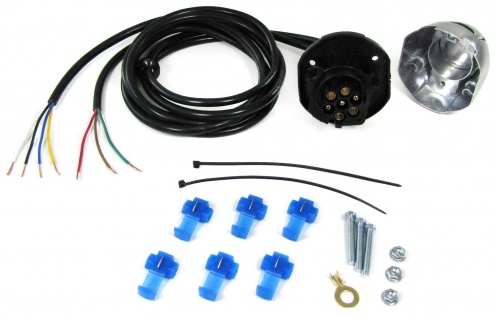 7-polige KFZ Auto Anhänger Trailer Alu Steckdose Anschluss Set mit 1.5 m Kabel
