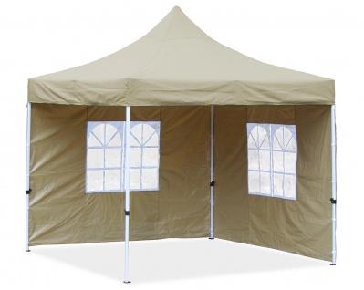 Premium Garten Falt Pavillion Party Zelt mit 2 Seitenwänden 2 Fenster 3x3m Beige