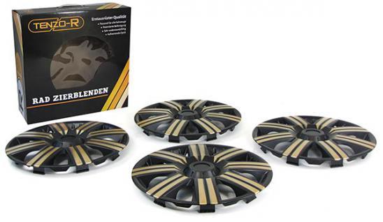 Radkappen Radzierblenden für Stahlfelgen Set Tenzo-R II 14 Zoll schwarz gold - Vorschau 2