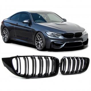 Sport Nieren Grill Doppelsteg schwarz glänzend für BMW 4er F32 F33 F36 F82 F83