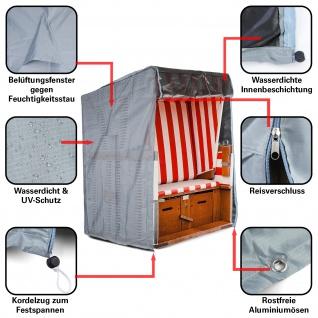 Premium Schutzhülle Abdeckung Cover für Strandkorb Grau 160/150x135x100cm