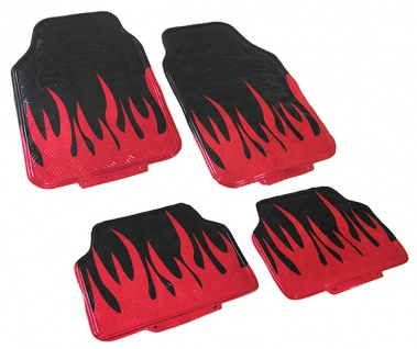 Auto Fußmatten Set universal Alu Riffelblech Optik Flammen 4-teilig schwarz rot