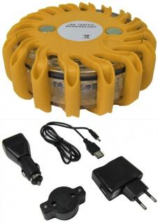 LED Warnleuchte Rundumleuchte Absicherung Warnblitzer gelb mit Akku + Ladekabel