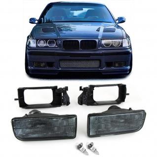 Nebelscheinwerfer Schwarz Smoke geriffelt für BMW 3er E36 90-99 auch M3