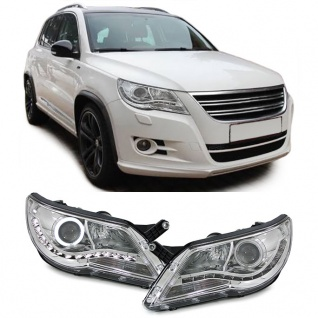 Angel Eyes CCFL Scheinwerfer +LED Tagfahrlicht Optik chrom für VW Tiguan 5N