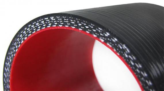 Tenzo-R Silikonschlauch verstärkt Verbindung Abgewinkelt 90° Reduzierung 64*76mm - Vorschau 3