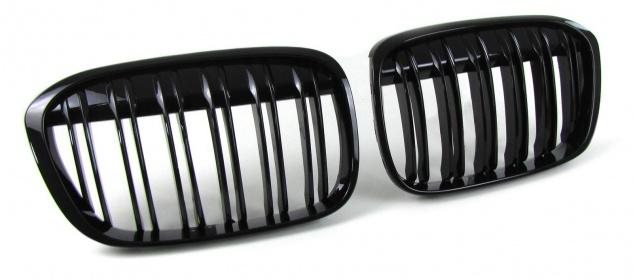 Sport Kühlergrill Nieren Doppelsteg schwarz glänzend für BMW X1 F48 ab 14