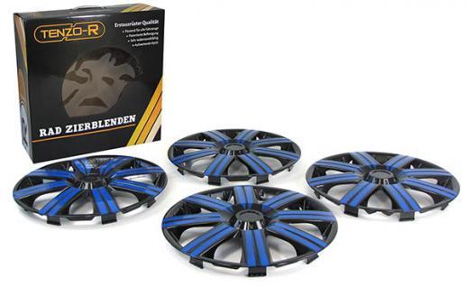 Radkappen Radzierblenden für Stahlfelgen Set Tenzo-R II 14 Zoll schwarz blau - Vorschau 2
