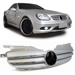 Kühlergrill Grill Sport Optik Silber Chrom für Mercedes SLK R170 ab 96