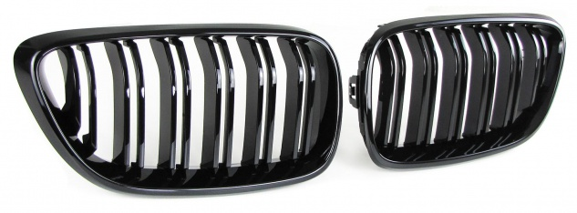 Sport Kühlergrill Nieren Doppelsteg schwarz glänzend für BMW 2er F22 F23 14-16