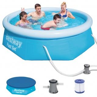 BESTWAY Fast Set Pool Swimmingpool Set Rund mit Filterpumpe + Cover 244x66cm