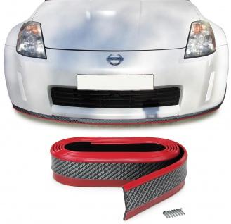 Front Spoiler Lippe Seitenschweller universal flexibel 2, 5mx5cm Carbon Optik rot