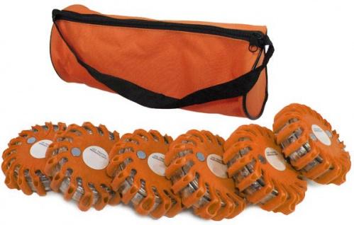 6er Set LED Warnleuchte Rundumleuchte Absicherung Warnblitzer orange rot