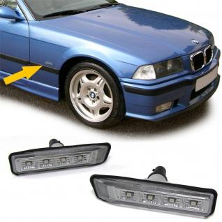Klarglas LED Seitenblinker schwarz smoke für BMW 3ER E36 96-00 X5 E53 00-07