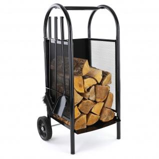 Brennholz Kaminholzwagen mit Kaminbesteck für Kamin Holzscheite schwarz
