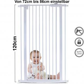 Absperrgitter Treppenschutzgitter Metall weiß verstellbar 72 -86cm 120cm hoch