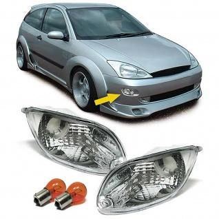 Klarglas Blinker chrom Paar mit Leuchtmittel für Ford Focus 98-01