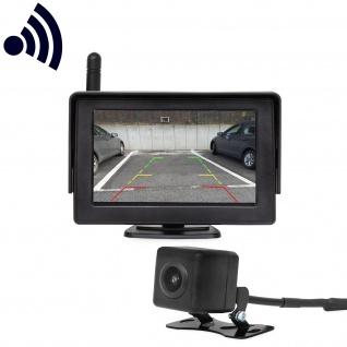 Funk Rückfahrkamera Einparkhilfe kabellos mit Monitor Farbdisplay 170 Grad 12V