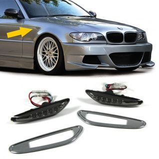 LED Seitenblinker schwarz smoke für BMW 3ER E46 + 5er E60 + X3 E83