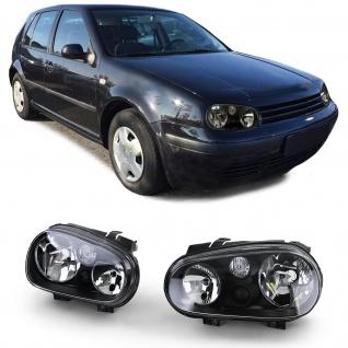 Klarglas Scheinwerfer Schwarz ohne Nebel für VW Golf 4 97-03