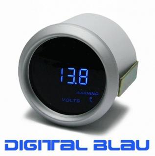 Volt Anzeige Voltmeter Zusatz Instrument 52mm digital Magic blau