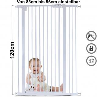 Absperrgitter Treppenschutzgitter Metall weiß verstellbar 83 -96cm 120cm hoch