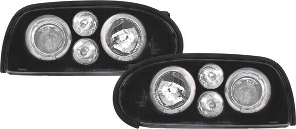 Klarglas Angel Eyes Scheinwerfer mit Blinker schwarz für VW Golf 3 91-97