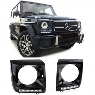Scheinwerfer Abdeckungen Schwarz Glanz mit LED Tagfahrlicht für Mercedes G W463