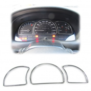 Tachoringe Abdeckungen Blenden 3 teilig chrom für Opel Astra F 91-97