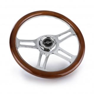 Sport Lenkrad Exclusive 2 Edel Holz Chrom 340mm universal für Momo Sparco