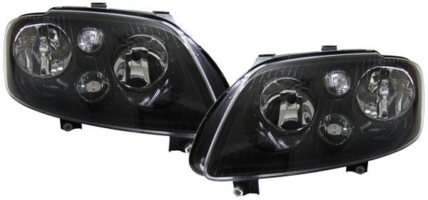 Schwarze H7 H7 Scheinwerfer mit Stellmotoren für VW Touran 03-06 + Caddy 04-10