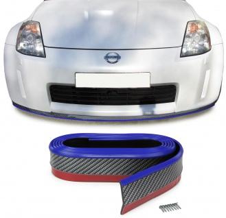 Front Spoiler Lippe Schweller universal flexibel 2, 5mx5cm Carbon Optik blau