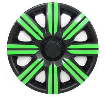 Radkappen Radzierblenden für Stahlfelgen Set Tenzo-R II 14 Zoll schwarz grün - Vorschau 3