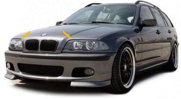 Scheinwerferblenden Set mit ABE für BMW 3ER E46 Limousine bis 01