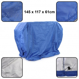 Premium Grillabdeckung Schutzhülle Cover BBQ Grill Schutz Blau M 145x117x61cm