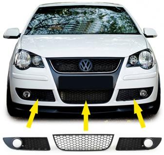 Waben Grill Kühlergrill Einsatz + Nebelscheinwerfer Blenden für VW Polo 9N3