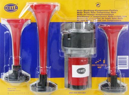 Hella Dreiklang Fanfare Hupe Signal Horn KFZ 12 Volt 118dB ECE 600-810Hz