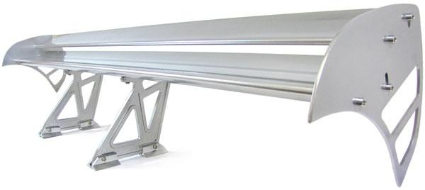 Alu Doppel Heckflügel Heckspoiler Silber für Rennsport