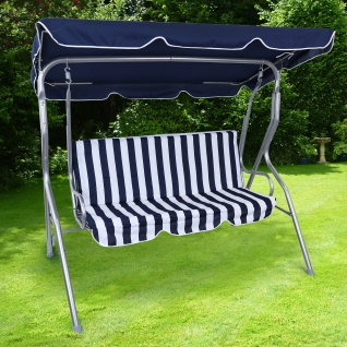 Hollywoodschaukel Gartenschaukel Outdoor Indoor 3 Sitzer Blau Weiß Silber