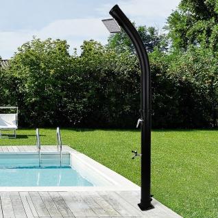 Solar Garten Dusche Curved Schwarz mit Fußdusche Eckiger Duschkopf 20L