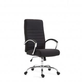 Chefsessel Bürostuhl Drehstuhl mit Armlehnmen Schreibtischstuhl Stoff Schwarz
